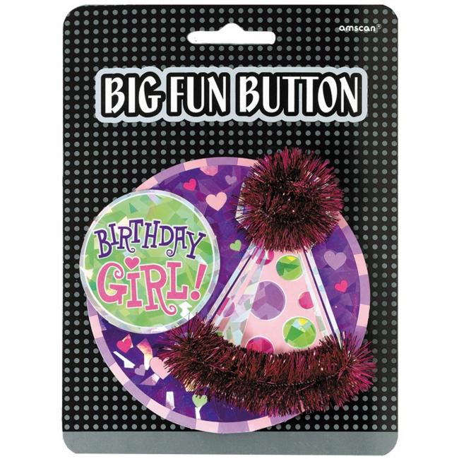 Image of Button gefeliciteerd meisje
