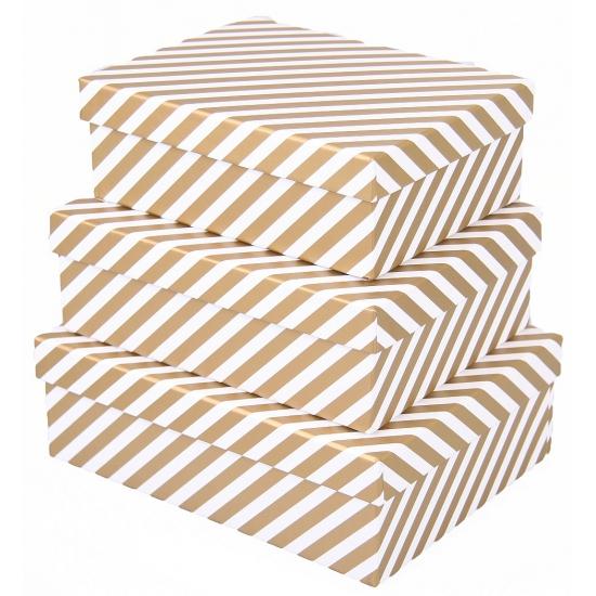 Image of Cadeau doos gouden strepen 20 cm