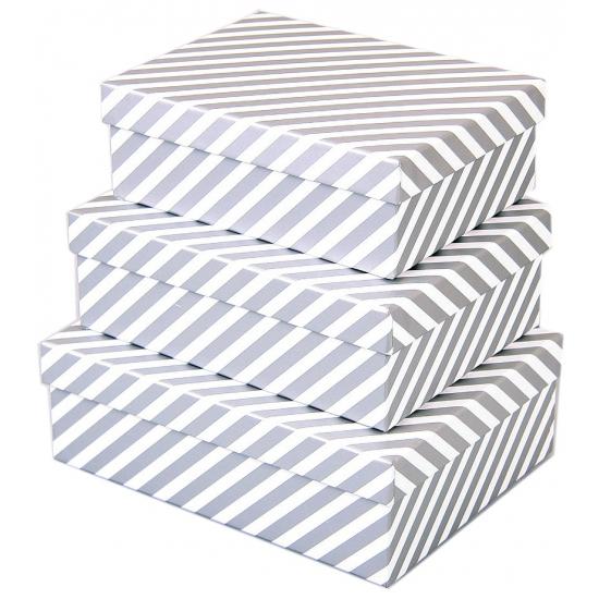 Image of Cadeau doos zilveren strepen 18 cm