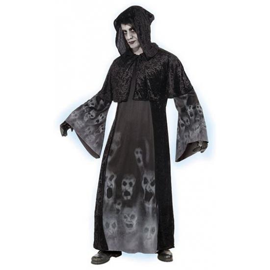 Vergeten zielen kostuum. dit zwarte kostuum voor volwassenen bevat afbeeldingen van spoken op de jurk en ...