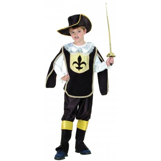 Musketier kostuum zwart met goud voor kinderen. dit musketiers kostuum bestaat uit de overslag, de broek, de ...