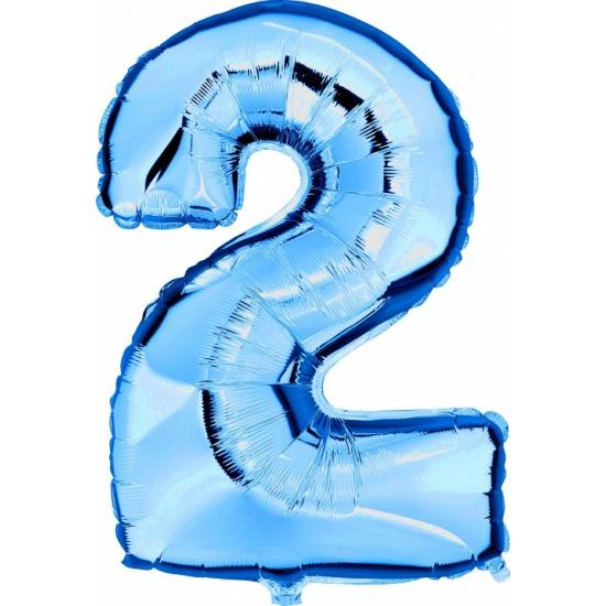 Image of Cijfer 2 ballon blauw