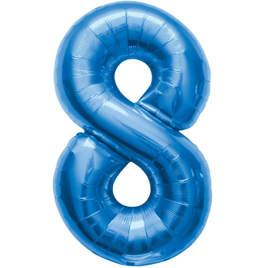 Image of Cijfer 8 ballon blauw 86 cm