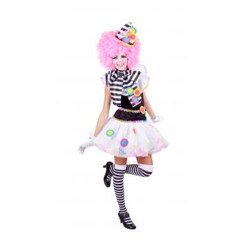 Dames clown kostuum. clown kostuum voor dames bestaande uit een shirt, tuturok, kraag en hoedje. one size, ...