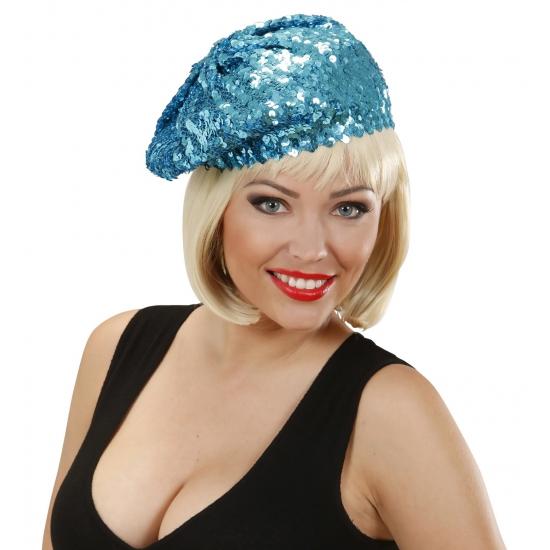 Image of Dames mutsen met glitter pailletten blauw