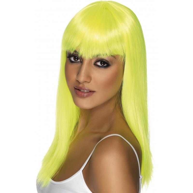 Image of Dames pruik stijl met pony fel geel
