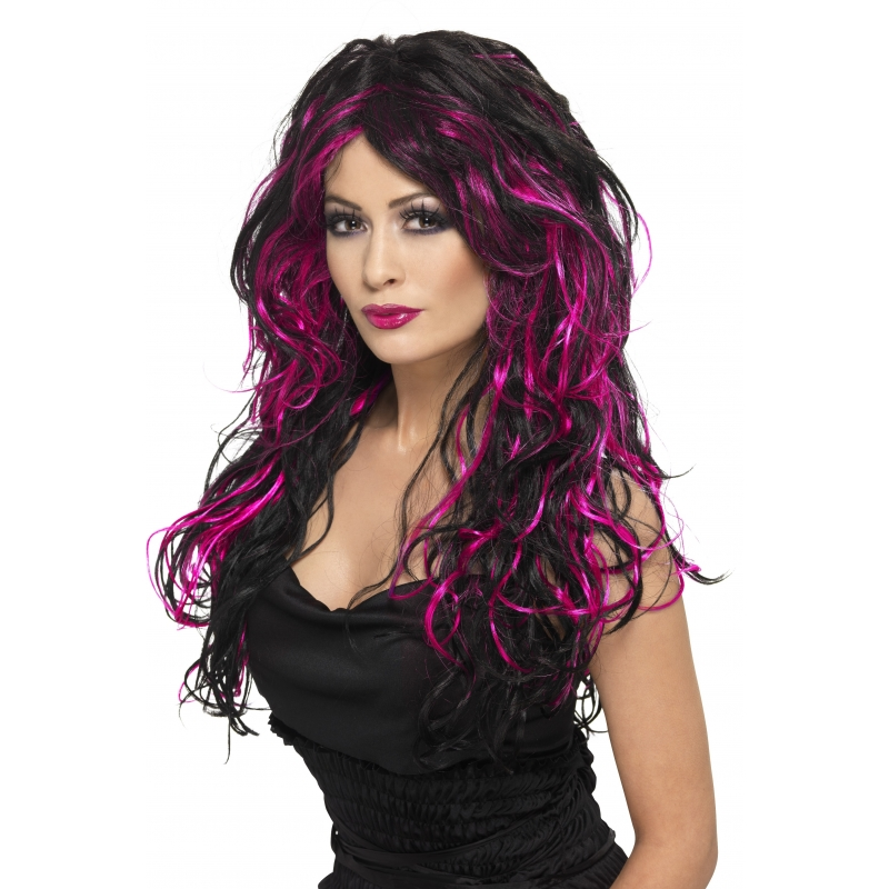 Image of Dames pruik zwart met roze