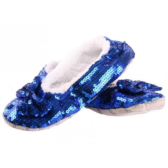 Image of Dames sloffen met pailletten in het blauw