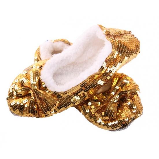 Image of Dames sloffen met pailletten in het goud