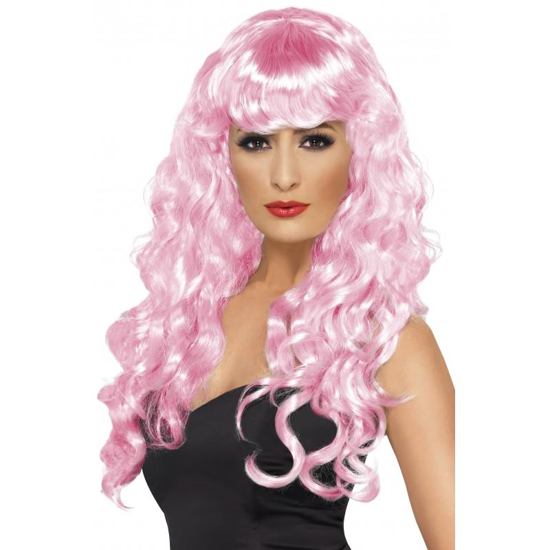 Image of Damespruik met roze krullen