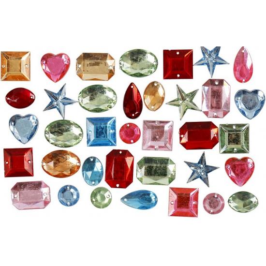 Image of Deco materiaal plak diamantjes 15 gr mix