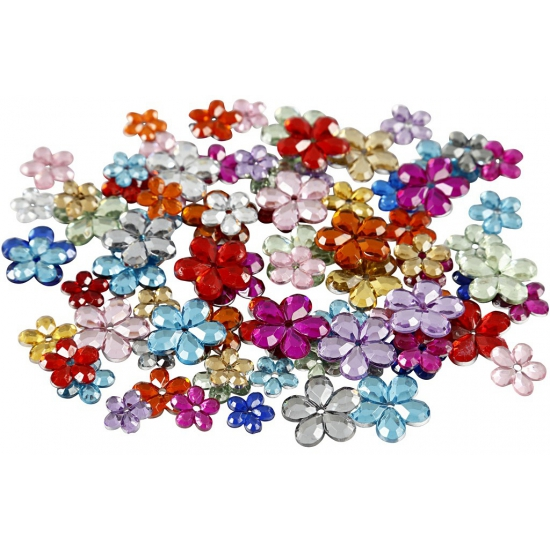 Image of Deco materiaal plak diamantjes bloem