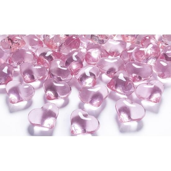 Image of Decoratie hartjes diamantjes lichtroze