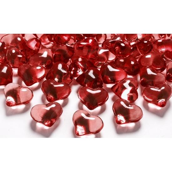 Image of Decoratie hartjes diamantjes rood