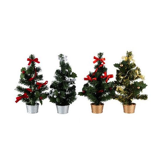 Image of Decoratie mini kerstboom rood goud