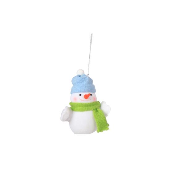 Image of Decoratie sneeuwpop 8 cm blauwe muts
