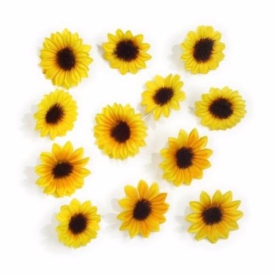 Zakje met een mix van 12 decoratie zonnebloemetjes in verschillende ...