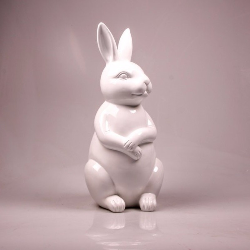 Image of Dierenbeeld haas / konijn wit 30 cm