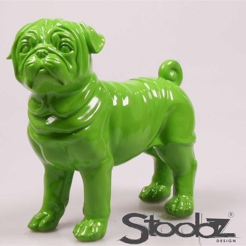 Image of Dierenbeeld Mopshond groen 30 cm