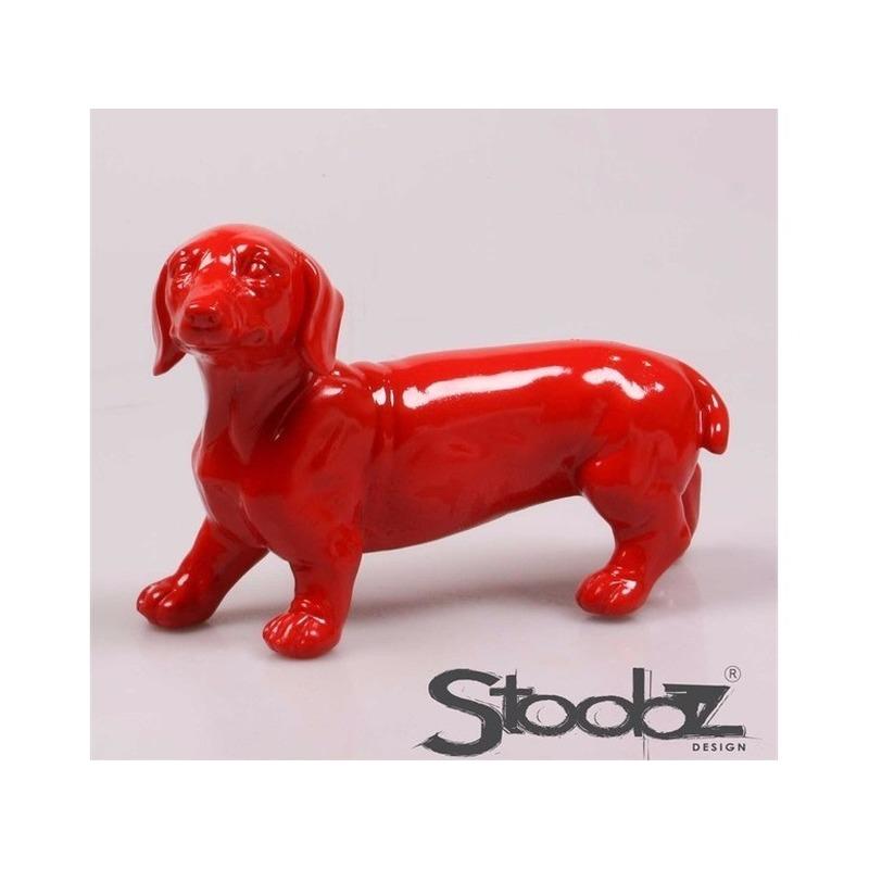 Image of Dierenbeeld Teckel hond rood 29 cm
