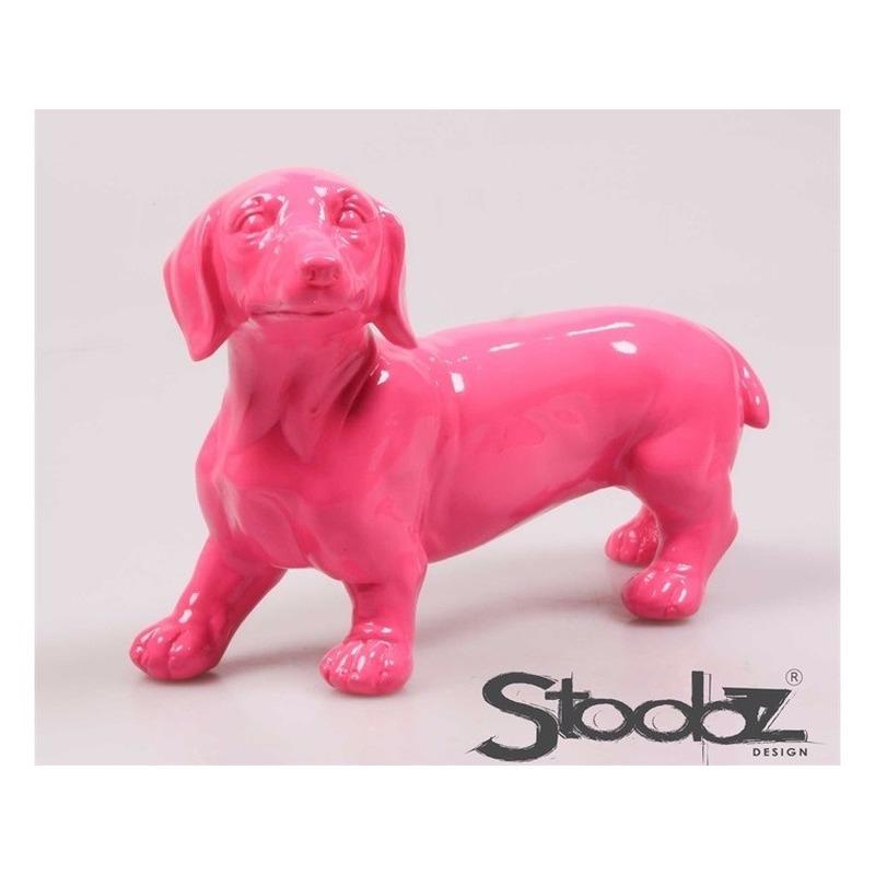 Image of Dierenbeeld Teckel hond roze 29 cm