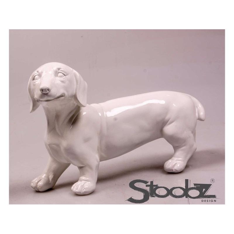 Image of Dierenbeeld Teckel hond wit 29 cm