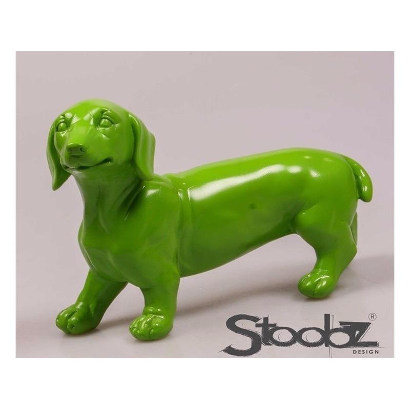Image of Dierenbeeld Teckel statue hond groen 29 cm