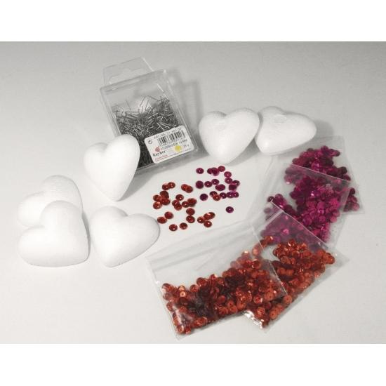 Image of DIY pakket hartjes met pailletten