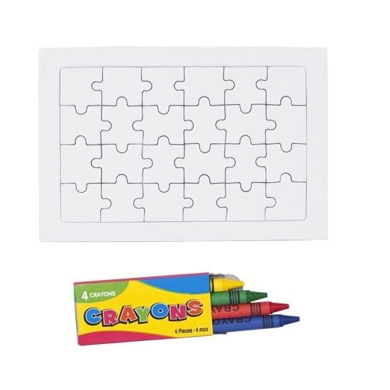 Image of DIY puzzel set met krijtjes 24 stukjes