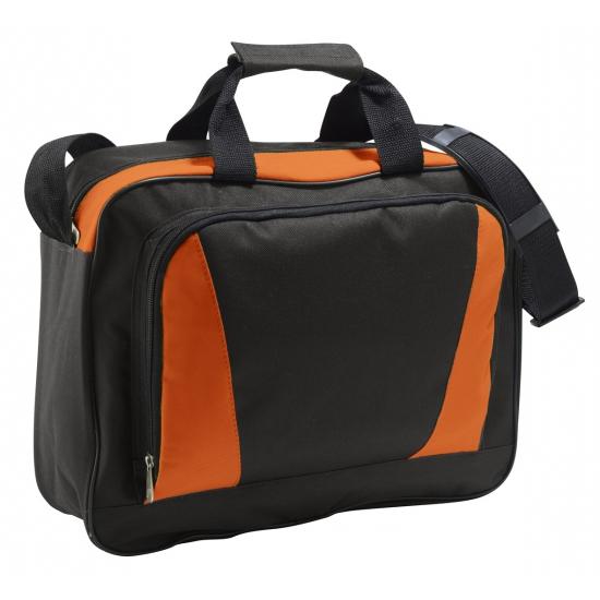 Image of Documenten tas oranje/zwart 40 cm
