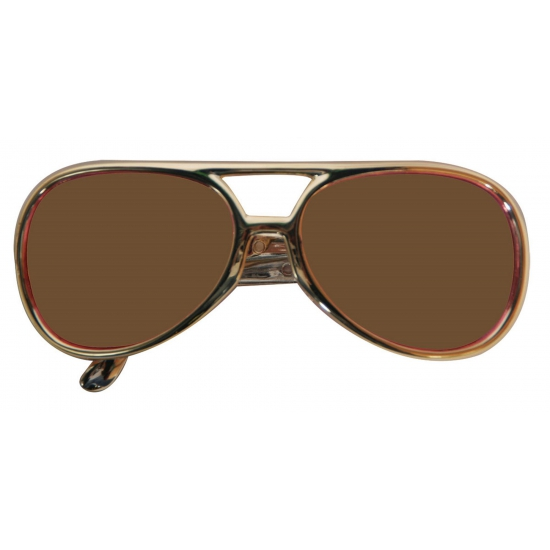 Image of Elvis feest bril met gouden frame