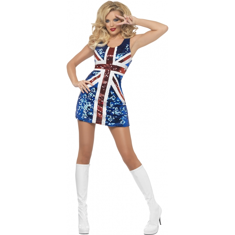 Image of Engelse vlag kostuum pailletten