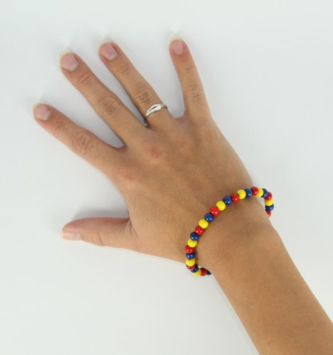 Image of Fan armband geel blauw rood