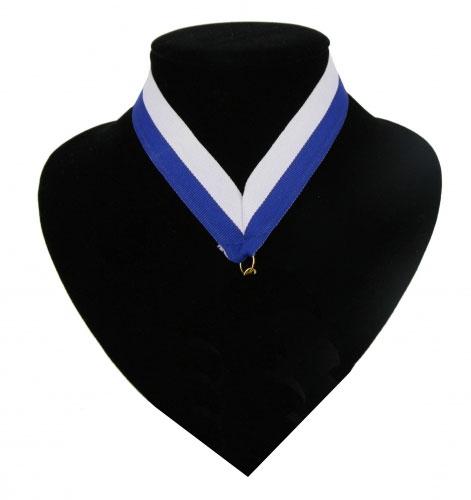 Image of Fan halslint blauw en wit