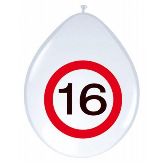 Image of Feest ballonnen 16 jaar verkeersbord