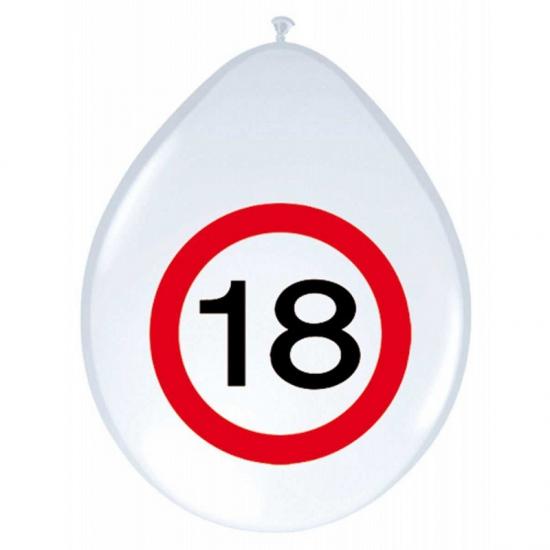 Image of Feest ballonnen 18 jaar verkeersbord
