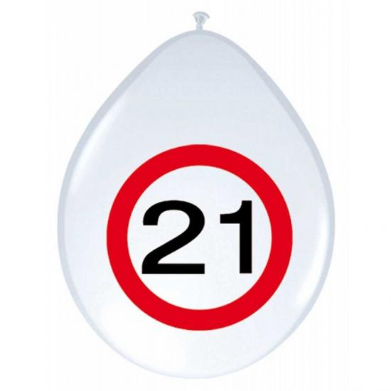Image of Feest ballonnen 21 jaar verkeersbord