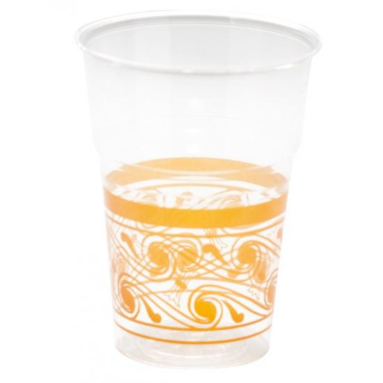 Image of Feest bekertjes transparant/oranje 10 stuks