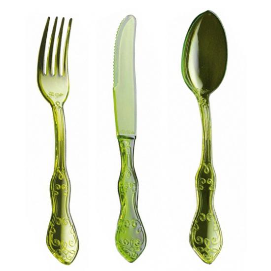 Image of Feest bestek in groen