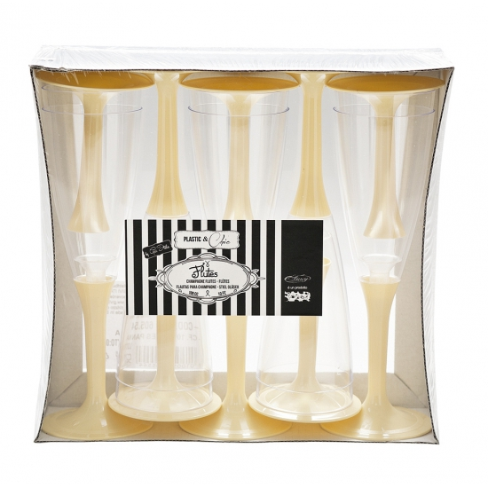 Image of Feest glazen met creme voet 10 stuks