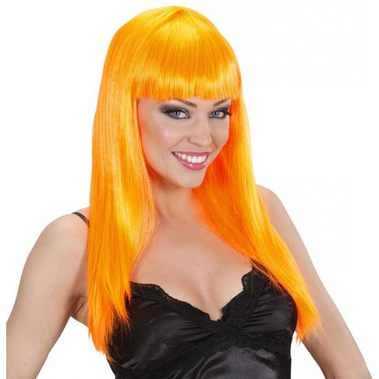 Image of Feest pruik met oranje stijl haar