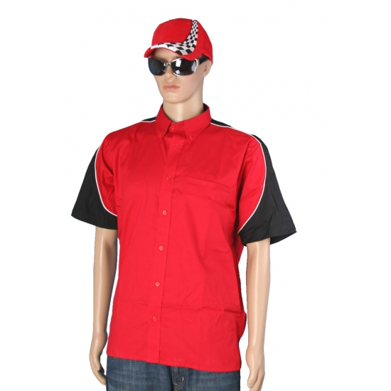 Image of Feest rood racing shirt met petje maat L