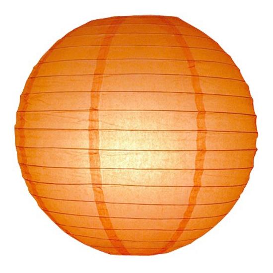 Feest versiering oranje lampion 25 cm