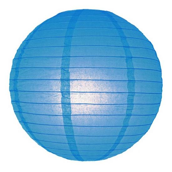 Image of Feest versiering ronde blauwe lampion 25 cm