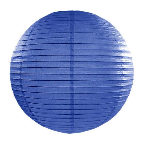 Image of Feest versiering ronde donker blauwe lampion 35 cm