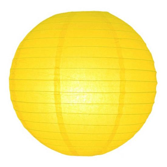 Image of Feest versiering ronde gele lampion 25 cm