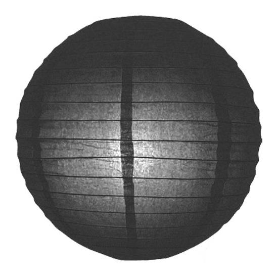 Image of Feest versiering ronde zwarte lampion 25 cm