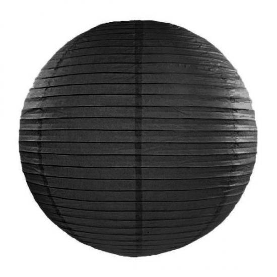 Image of Feest versiering ronde zwarte lampion 35 cm