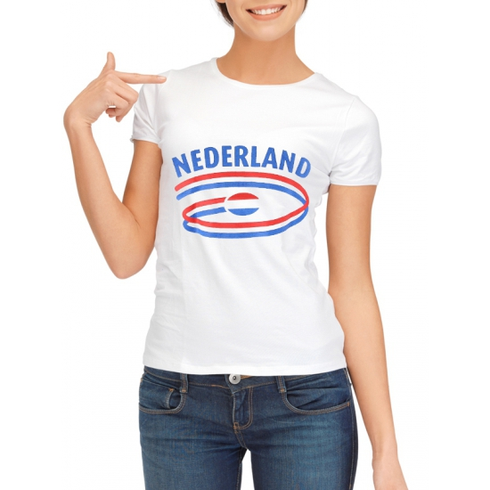 Feestartikelen dames t shirt vlag Nederland
