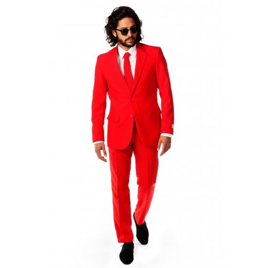 Image of Fel rood maatpak voor heren